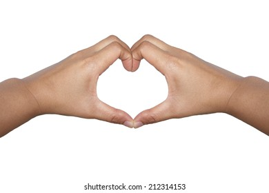 Hands with heart symbol isolated on the white background.