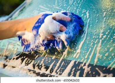 Hands hold blue sponge for washing car.