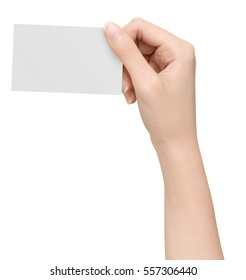 Hands hold business cards is on white background