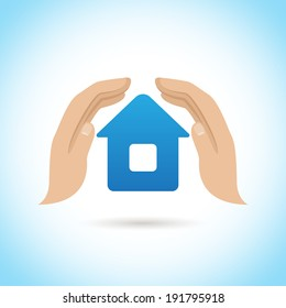 Hands hold cover house home protect insurance concept poster  illustration
