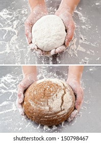 Hands hold the dough and the bread on the background of the table with flour