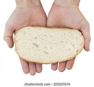 Hands hold a slice of bread isolated on white.