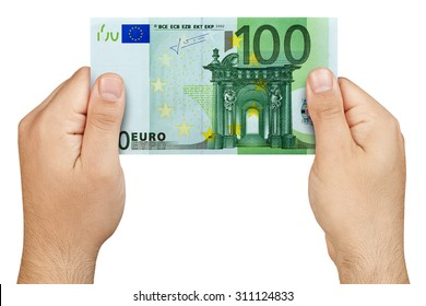 Hands holding 100 euro banknote isolated
