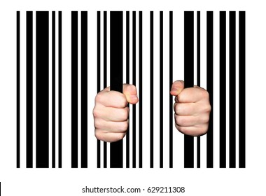 Hands holding barcode stripes as Jail Bars