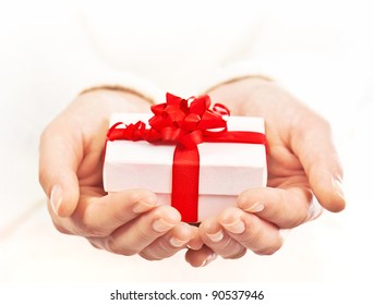 Gift giving images stock photos vectors shutterstock hands holding beautiful gift box female giving gift christmas holidays and greeting season concept negle Images