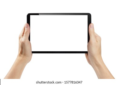 Hands holding black tablet, isolated on white background