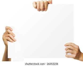 hands holding blank advertisement paper