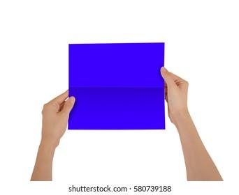 Hands holding blank blue brochure booklet in the hand. Leaflet presentation. Pamphlet hand man. Show offset paper. Sheet template. Book in hands. Booklet folding design. Fold paper sheet display read