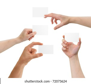 Hands holding blank business cards with copy-space, isolated on white