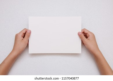 hands holding blank  copy space letter