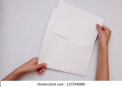 hands holding blank  copy space letter, mock up for your text