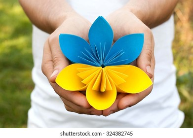 Hands holding a blue yellow paper flower origami