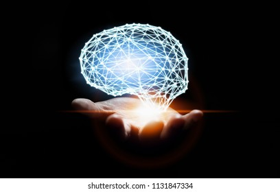 hands holding brain, innovative technology in science concept.
