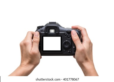 Hands holding the camera on white background,include clipping path
