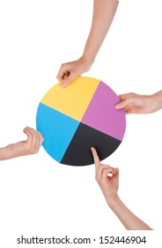 Hands Holding a Chromatic Circle, Isolated