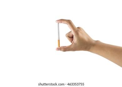 Hand's holding cigarette on white background
