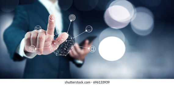 Hands holding circle global network connection in screen