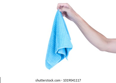 Hands holding cleaning rag microfiber cloth isolated on white background