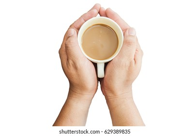 hands holding coffee cup on white background, top view,clipping path included