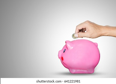 hands holding a coin put on piggy bank saving on gray background for saving money concept.