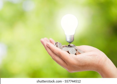 Hands holding coins and light bulb on a bright green background /Energy savings concept