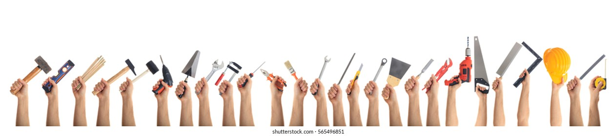 Hands holding construction tools isolated on white background. Banner, collage
