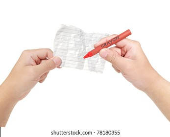 Hands holding crumpled paper note with red color crayon