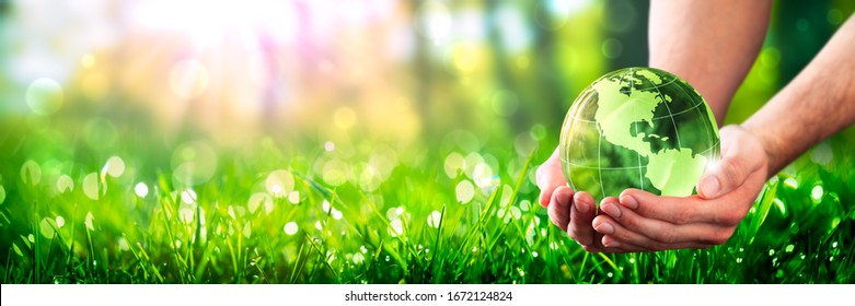 Hands Holding Crystal Earth In Lush Green Environment With Sunlight - Earth-Day Concept