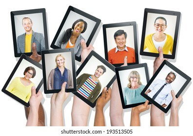 Hands Holding Digital Devices with People's Faces