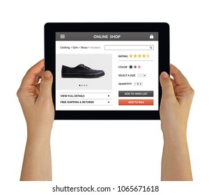 Hands holding digital tablet computer with online shop concept on screen. Isolated on white. All screen content is designed by me