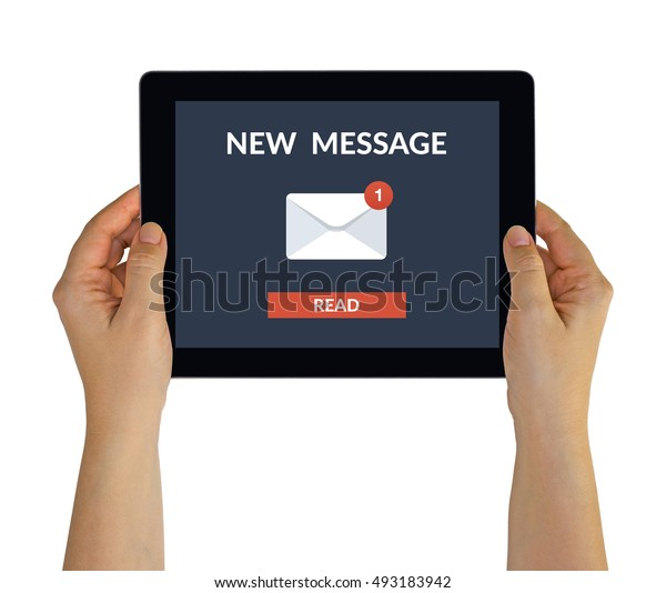 Hands holding digital tablet computer with new message concept on screen. Isolated on white. All screen content is designed by me