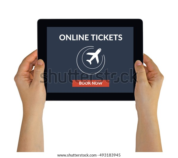 Hands holding digital tablet computer with online tickets concept on screen. Isolated on white. All screen content is designed by me