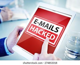 Hands Holding Digital Tablet E-Mails Hacked