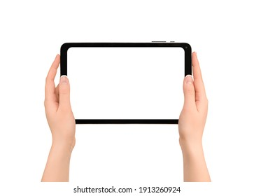 hands are holding digital tablet with white copy space. view from above. isolated white background