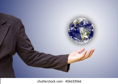 hands holding Earth. Elements of this image are furnished by NASA