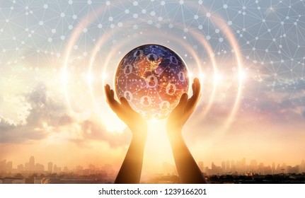 Hands holding earth and wave of circle global structure network connection and data exchanges customers worldwide on city background. Innovation. Creative and inspiration. Networking and technology.