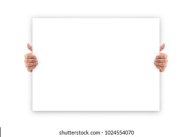 Hands holding an empty white advertising banner