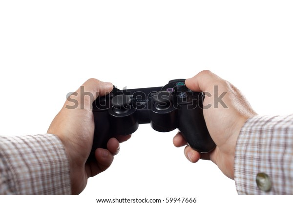 Hands holding a gamepad isolated on white. Gamepad has been completely altered for copyright reasons.