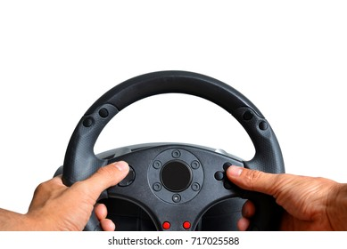 Hands holding gaming steering wheel on white background.