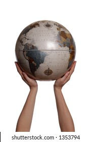 Hands Holding up Globe on White Background