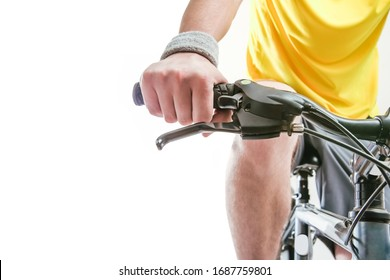 Hands  holding handlebar of a bicycle. isolated on white background. front view. close up image.
