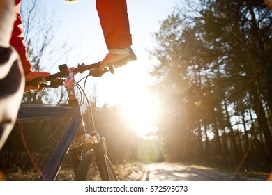 Hands holding handlebar of a bicycle on the sandy road in the forest, a top view, sunlight