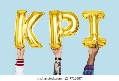 Hands holding KPI word in balloon letters