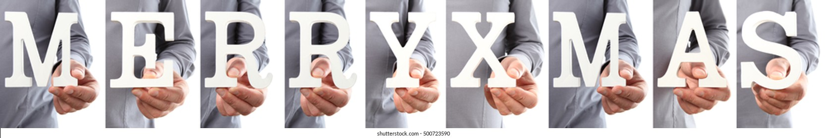 Hands holding letter text merry christmas word