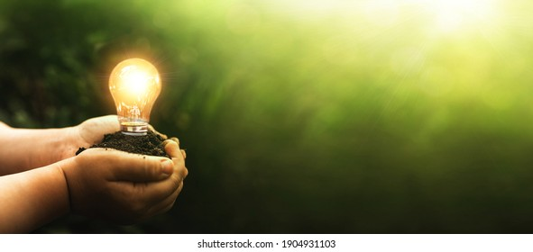 Hands holding light bulb.  Eco green energy. Earth day. Sustainable environment. Energy saving concept.