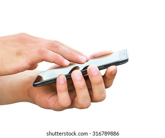 Hands holding mobile smart phone on white background
