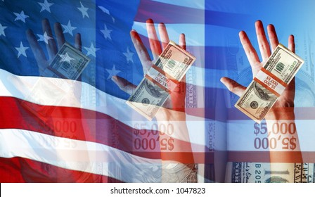 Hands Holding Money and The American Flag