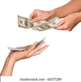 Hands holding money dollars isolated on white background