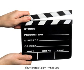 hands holding a movie clapperboard
