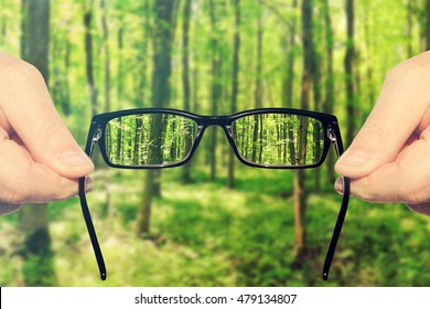 Hands holding and offering eye glasses to look at amazing green forest landndscape.Sharp as a good sight symbol and unsharp as a bad sight symbol.Toned colors photo